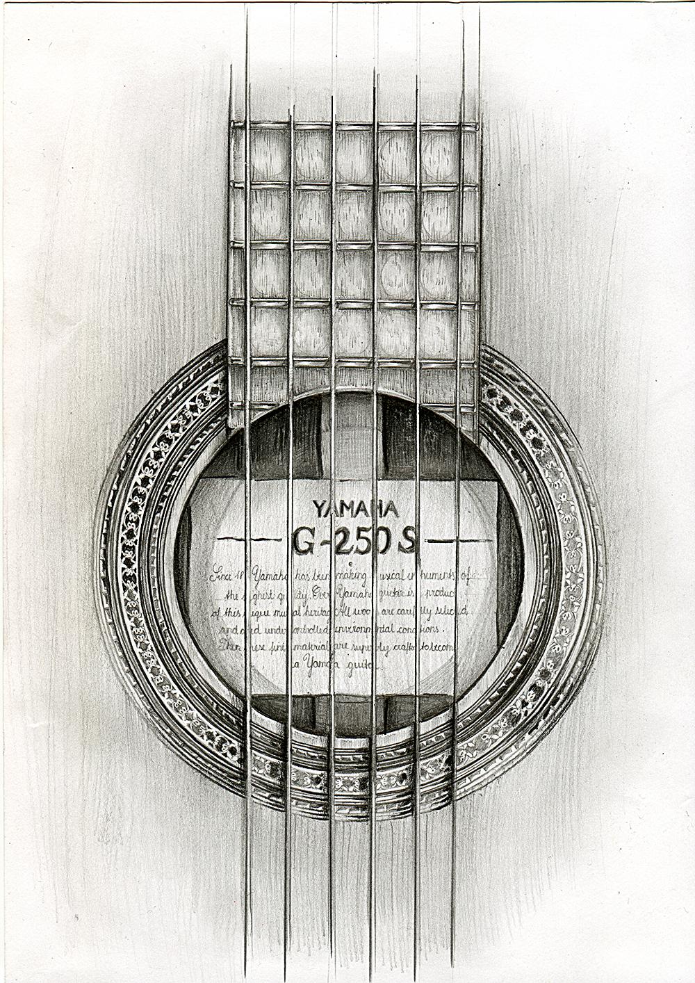 Gitarre - Bleistiftzeichnung